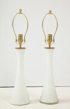 Berndt Nordstedt A pair of Swedish Milk Glass Table Lamps Bergboms Circa 1960s - 1458311