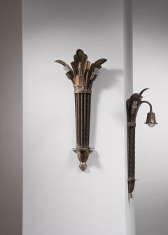 Bernham Linder Pair of Bernham Linder copper wall lamps - 2129314