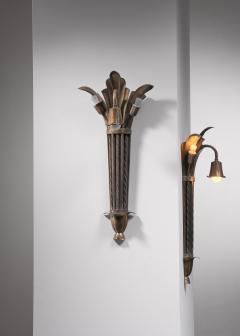 Bernham Linder Pair of Bernham Linder copper wall lamps - 2129315