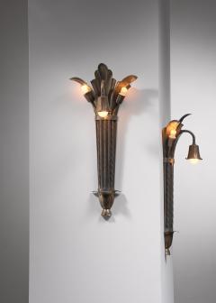 Bernham Linder Pair of Bernham Linder copper wall lamps - 2129316