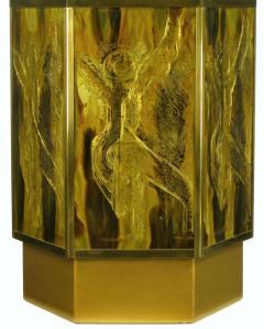 Bernhard E Rohne Bernhard Rohne for Mastercraft Acid Etched Brass Hexagonal Pedestal Table - 277224