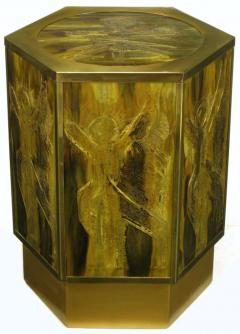 Bernhard E Rohne Bernhard Rohne for Mastercraft Acid Etched Brass Hexagonal Pedestal Table - 277225