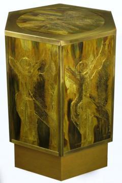 Bernhard E Rohne Bernhard Rohne for Mastercraft Acid Etched Brass Hexagonal Pedestal Table - 277226