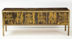 Bernhard Rohne Bernhard Rhone Acid Etched Aged Brass Credenza - 1266780