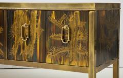 Bernhard Rohne Bernhard Rhone Acid Etched Aged Brass Credenza - 1266783