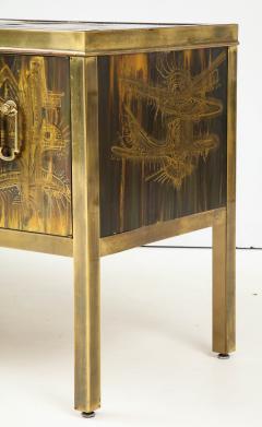 Bernhard Rohne Bernhard Rhone Acid Etched Aged Brass Credenza - 1266784