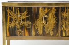Bernhard Rohne Bernhard Rhone Acid Etched Aged Brass Credenza - 1266785