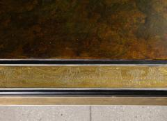 Bernhard Rohne Bernhard Rohne Mastercraft Acid Etched Brass Coffee Table with Lacquered Center - 1116572