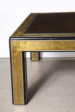 Bernhard Rohne Bernhard Rohne Mastercraft Acid Etched Brass Coffee Table with Lacquered Center - 1116574
