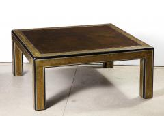 Bernhard Rohne Bernhard Rohne Mastercraft Acid Etched Brass Coffee Table with Lacquered Center - 1116583