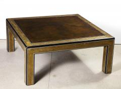 Bernhard Rohne Bernhard Rohne Mastercraft Acid Etched Brass Coffee Table with Lacquered Center - 1116585
