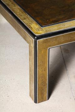 Bernhard Rohne Bernhard Rohne Mastercraft Acid Etched Brass Coffee Table with Lacquered Center - 1116586