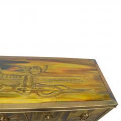 Bernhard Rohne Credenza Brass Acid Etched by Bernhard Rohne for Mastercraft 1970s - 2117539