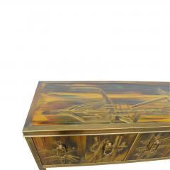 Bernhard Rohne Credenza Brass Acid Etched by Bernhard Rohne for Mastercraft 1970s - 2117540