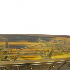 Bernhard Rohne Credenza Brass Acid Etched by Bernhard Rohne for Mastercraft 1970s - 2117541