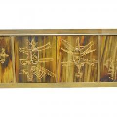 Bernhard Rohne Credenza Brass Acid Etched by Bernhard Rohne for Mastercraft 1970s - 2117542