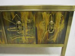 Bernhard Rohne Outstanding Acid Etched Brass Credenza by Bernard Rohne Mastercraft - 1684922