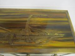 Bernhard Rohne Outstanding Acid Etched Brass Credenza by Bernard Rohne Mastercraft - 1684926