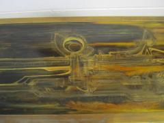 Bernhard Rohne Outstanding Acid Etched Brass Credenza by Bernard Rohne Mastercraft - 1684928