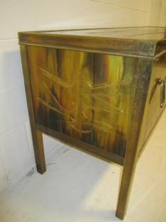 Bernhard Rohne Outstanding Acid Etched Brass Credenza by Bernard Rohne Mastercraft - 1684937