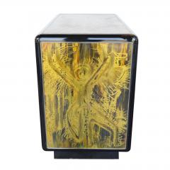 Bernhard Rohne Small Commode Acid Etched Brass Chest of Drawers Bernhard Rohne for Mastercraft - 2126233