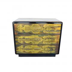 Bernhard Rohne Small Commode Acid Etched Brass Chest of Drawers Bernhard Rohne for Mastercraft - 2126236