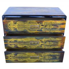 Bernhard Rohne Small Commode Acid Etched Brass Chest of Drawers Bernhard Rohne for Mastercraft - 2126238