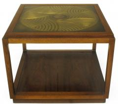 Bert England Bert England East Indian Laurel Side Table with Etched Brass Top for Baker - 900134
