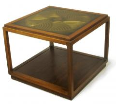 Bert England Bert England East Indian Laurel Side Table with Etched Brass Top for Baker - 900138