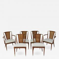 Bert England Bert England Forward Trend Six Cane and Brass Accented Dining Chairs 1960 - 601992