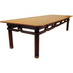 Bert England Brass Inlayed Asian Style Coffee Table Johnson Furniture Co circa 1960 - 570589