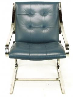 Bert England Four Bert England for Brueton Polished Steel Cadet Blue Leather Lounge Chairs - 899100