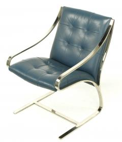Bert England Four Bert England for Brueton Polished Steel Cadet Blue Leather Lounge Chairs - 899101