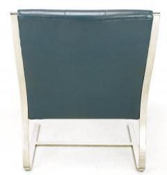 Bert England Four Bert England for Brueton Polished Steel Cadet Blue Leather Lounge Chairs - 899103