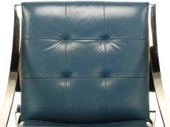 Bert England Four Bert England for Brueton Polished Steel Cadet Blue Leather Lounge Chairs - 899106