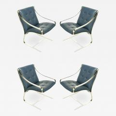 Bert England Four Bert England for Brueton Polished Steel Cadet Blue Leather Lounge Chairs - 901587
