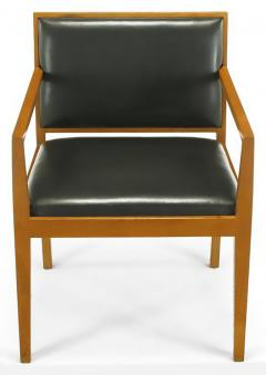 Bert England Four Interior Crafts Ash and Leather Armchairs - 899044