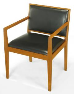 Bert England Four Interior Crafts Ash and Leather Armchairs - 899046