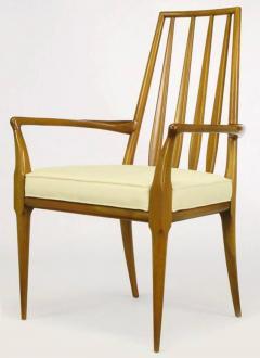 Bert England Pair of Bert England Sculpted Walnut and Off White Linen Slatback Armchairs - 274293