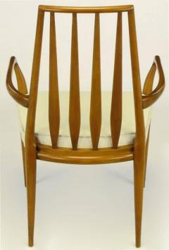 Bert England Pair of Bert England Sculpted Walnut and Off White Linen Slatback Armchairs - 274294