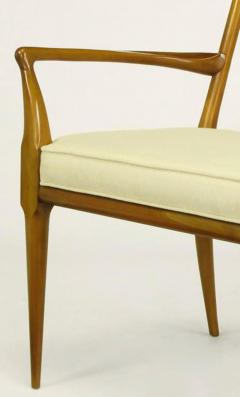 Bert England Pair of Bert England Sculpted Walnut and Off White Linen Slatback Armchairs - 274295