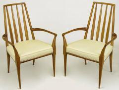 Bert England Pair of Bert England Sculpted Walnut and Off White Linen Slatback Armchairs - 274296