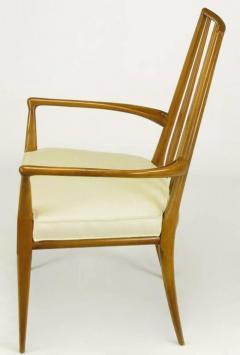 Bert England Pair of Bert England Sculpted Walnut and Off White Linen Slatback Armchairs - 274297