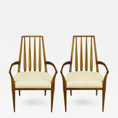 Bert England Pair of Bert England Sculpted Walnut and Off White Linen Slatback Armchairs - 383461