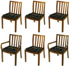 Bert England Six Bert England Forward Trend Walnut and Leather Dining Chairs - 72570