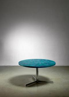 Berthold Muller Berthold Muller mosaic coffee table in blue Germany 1950s - 1143218