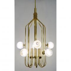 Bespoke Italian Alabaster White Murano Glass Brass Curved Globe Chandelier - 1646918