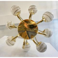 Bespoke Italian Alabaster White Murano Glass Brass Curved Globe Chandelier - 1646922