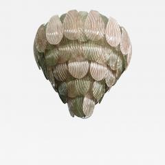 Bespoke Italian Art Deco Design Pink Green Murano Glass Leaf Chandelier - 1510949
