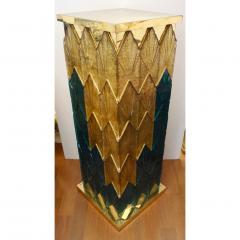 Bespoke Italian Art Deco Green Gold Murano Glass Brass and Wood Pedestals - 1524021